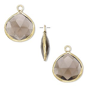 drop, smoky quartz (heated / irradiated) and gold-finished sterling silver, 15mm double-sided faceted teardrop. sold per pkg of 2.