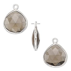 drop, smoky quartz (heated / irradiated) and sterling silver, 15mm double-sided faceted teardrop. sold per pkg of 2.