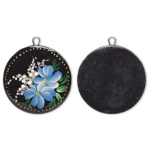 drop, steel and wood, black and multicolored, 25.5mm single-sided round with hand-painted flower design. sold individually.