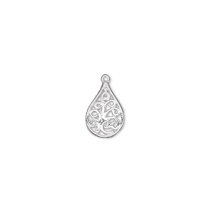 drop, sterling silver, 11x8mm single-sided filigree teardrop. sold per pkg of 2.