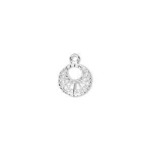 drop, sterling silver, 12.5x9.5x1.5mm diamond-cut round go-go. sold individually.
