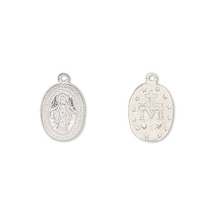 drop, sterling silver, 12x9mm two-sided oval with mother mary. sold individually.