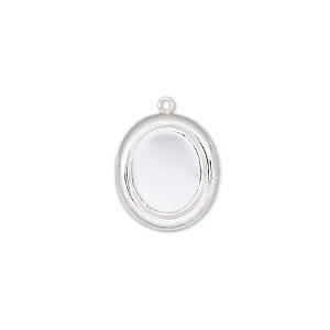 drop, sterling silver, 15.5x14mm single-sided oval with 12x10mm oval setting. sold individually.