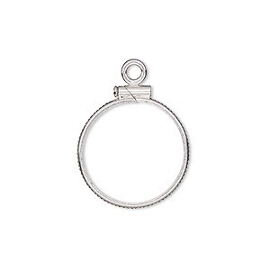 drop, sterling silver, 18.5mm open round with 18mm screw-fastened flat round bezel setting. sold individually.
