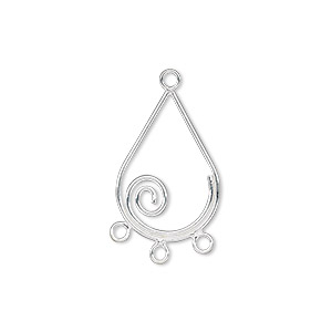 drop, sterling silver, 20x13mm teardrop with spiral and 3 loops. sold per pkg of 2.