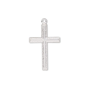 drop, sterling silver, 23x15mm single-sided flat textured cross. sold individually.