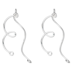 drop, sterling silver, 25mm knot and wave with 2 loops. sold per pkg of 2.