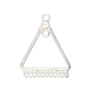 drop, sterling silver, 25mm triangle with 11 loops. sold per pkg of 2.