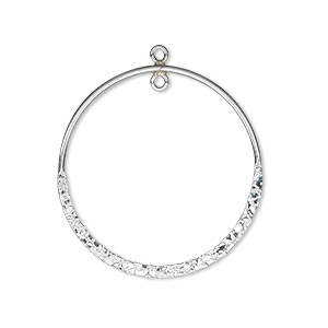 drop, sterling silver, 27mm double-sided hammered flat open round with loop. sold individually.