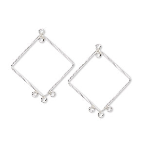 drop, sterling silver, 28x27mm diamond with 4 loops. sold per pkg 2.