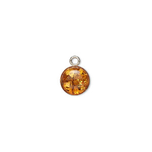 drop, sterling silver and baltic amber (heated), 8mm round. sold per pkg of 2.