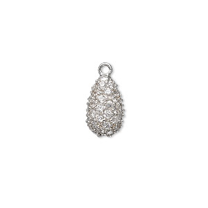 drop, sterling silver and cubic zirconia, clear, 12x7mm teardrop. sold individually.