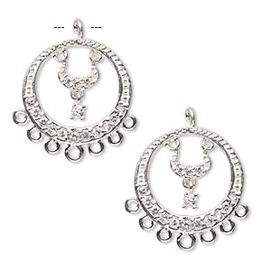 drop, sterling silver and cubic zirconia, clear, 17mm single-sided open round with 7 loops. sold per pkg 2.