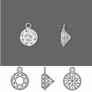 drop, sterling silver and cubic zirconia, clear, 9mm faceted round. sold per pkg of 2.