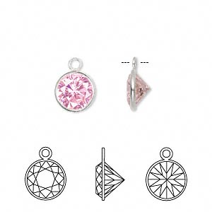 drop, sterling silver and cubic zirconia, pink, 9mm faceted round. sold per pkg of 2.