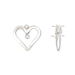 drop, sterling silver-filled, 16x15mm double-sided puffed open heart with loop. sold individually.