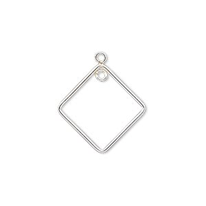 drop, sterling silver-filled, 19x19mm open diamond with loop. sold per pkg of 2.