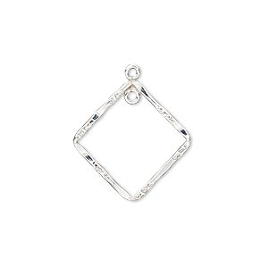 drop, sterling silver-filled, 20x20mm double-sided hammered and textured open diamond with loop. sold individually.