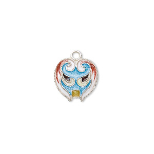 drop, sterling silver with cloisonne, light blue, 14x12mm mask. sold individually.