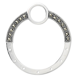 drop, sterling silver with marcasite, 42x38mm circle.  sold individually.