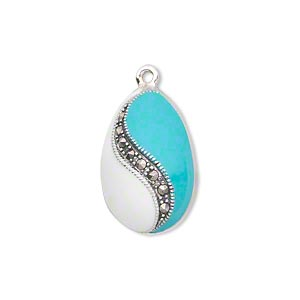 drop, sterling silver with marcasite and enamel, blue and white, 21x14mm teardrop. sold individually.