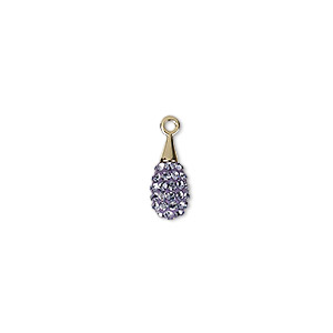 drop, swarovski crystal / epoxy / gold-plated brass, crystal passions, tanzanite and lilac, 14mm pave drop pendant (67563). sold individually.