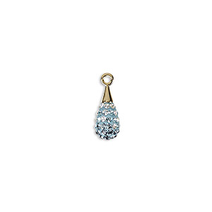 drop, swarovski crystal / epoxy / gold-plated brass, multicolored, 14mm pave drop pendant (67563). sold per pkg of 12.