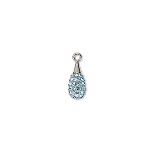 drop, swarovski crystal / epoxy / rhodium-plated brass, crystal passions, aquamarine and light blue, 14mm pave drop pendant (67563). sold individually.