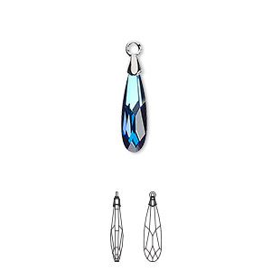 drop, swarovski crystal and rhodium-plated brass, crystal bermuda blue, 17.5x4mm faceted raindrop pendant (6533). sold per pkg of 36.