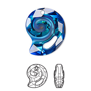 drop, swarovski crystal, crystal passions, partially frosted crystal bermuda blue p, 28mm faceted sea snail pendant (6731). sold individually.