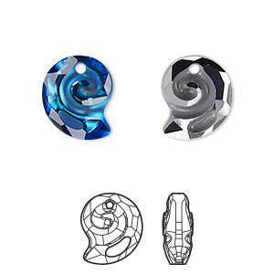 drop, swarovski crystal, partially frosted crystal bermuda blue p, 14mm faceted sea snail pendant (6731). sold per pkg of 36.