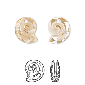 drop, swarovski crystal, partially frosted crystal golden shadow, 14mm faceted sea snail pendant (6731). sold per pkg of 36.