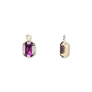drop, swarovski crystals and gold-plated brass, amethyst, 8x6mm oval. sold per pkg of 4.