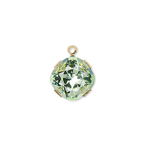drop, swarovski crystals and gold-plated brass, chrysolite, 13x13mm diamond (18704). sold individually.