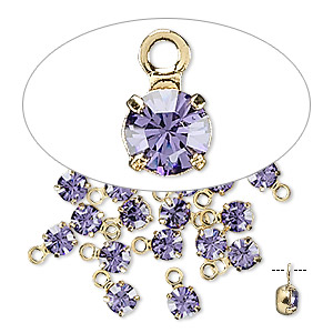 drop, swarovski crystals and gold-plated brass, crystal passions, tanzanite, 4-4.1mm round (17704), pp32. sold per pkg of 24.