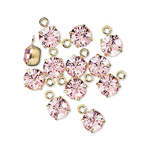 drop, swarovski crystals and gold-plated brass, light rose, 6.15-6.32mm round (17704), ss29. sold per pkg of 12.