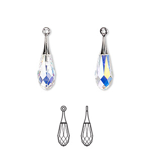 drop, swarovski crystals and rhodium-plated brass, crystal ab, 21mm faceted pure drop pendant (6532). sold per pkg of 24.