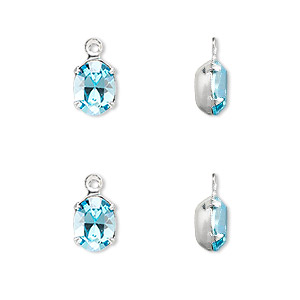 drop, swarovski crystals and rhodium-plated brass, crystal passions, aquamarine, foil back, 8x6mm oval. sold per pkg of 4.