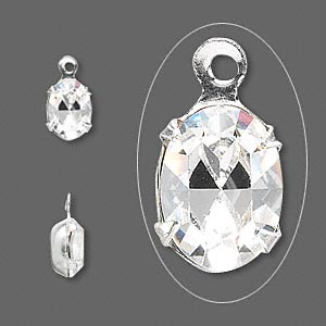 drop, swarovski crystals and silver-plated brass, crystal passions, crystal clear, 8x6mm oval (15504). sold per pkg of 4.