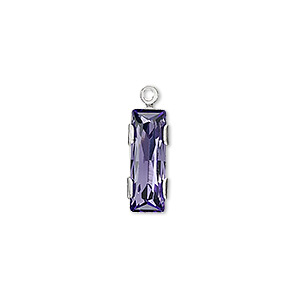 drop, swarovski crystals and silver-plated brass, tanzanite, silver-foil back, 19x6mm single-stone faceted rectangle. sold per pkg of 24.