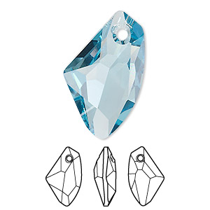 drop, swarovski crystals, aquamarine, 27x16mm faceted galactic vertical pendant (6656). sold per pkg of 30.
