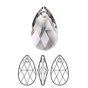 drop, swarovski crystals, black diamond, 22x13mm faceted pear pendant (6106). sold per pkg of 96.