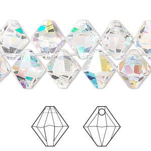drop, swarovski crystals, crystal ab, 10mm xilion bicone pendant (6328). sold per pkg of 144 (1 gross).