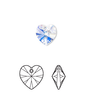 drop, swarovski crystals, crystal ab, 10x10mm xilion heart pendant (6228). sold per pkg of 288 (2 gross).