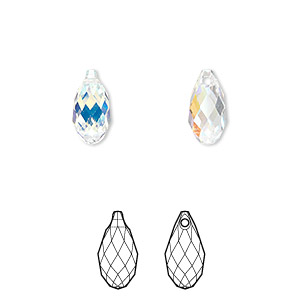 drop, swarovski crystals, crystal ab, 11x5.5mm faceted briolette pendant (6010). sold per pkg of 144 (1 gross).