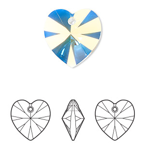 drop, swarovski crystals, crystal ab, 18x18mm xilion heart pendant (6228). sold per pkg of 72.
