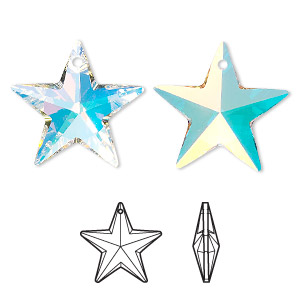 drop, swarovski crystals, crystal ab, 20x19mm faceted star pendant (6714). sold per pkg of 48.