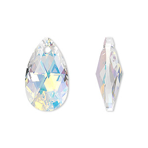 drop, swarovski crystals, crystal ab, 22x13mm faceted pear pendant (6106). sold per pkg of 96.