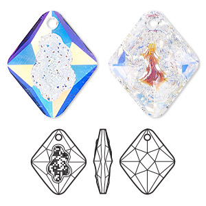 drop, swarovski crystals, crystal ab, 26mm faceted grow rhombus pendant (6926). sold per pkg of 15.