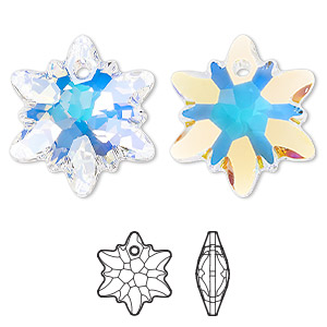 drop, swarovski crystals, crystal ab, 28mm faceted edelweiss pendant (6748). sold per pkg of 18.
